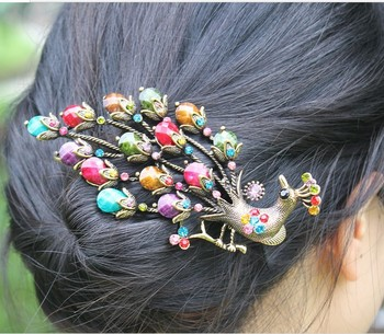 Free shipping (mix order 10$)B0002 vintage elegant gorgeous peacock hairpin duckbill clip banana clip hair accessory