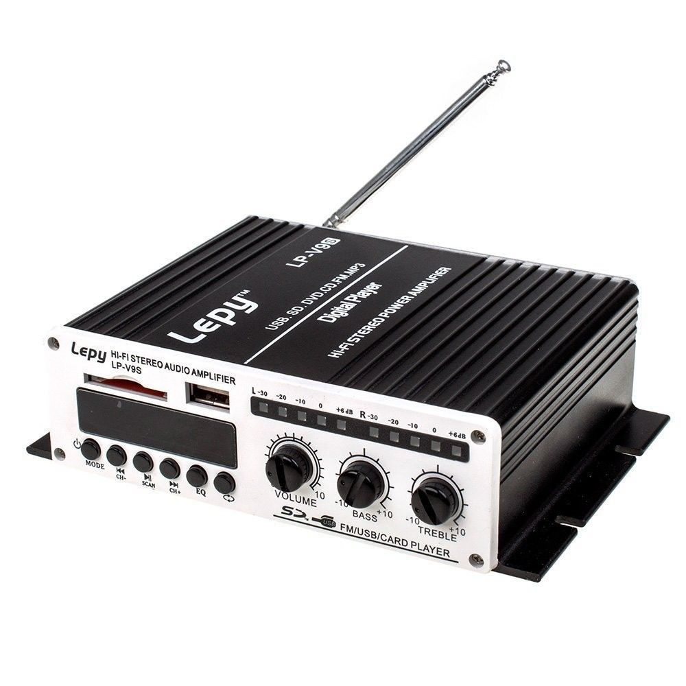 Lepy LP-V9S 2x20 W 2CH Hi-Fi Estéreo Digital Amplificador de Potencia Amp con USB SD DVD CD MP3 FM + Adaptador de Corriente Lepai(China (Mainland))
