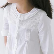 2016 High Quality Spring Summer Girls Blouses And Shirts Long Sleeve Girl White Shirt Ruffle Turn Down Collar Lace Cotton Shirt(China (Mainland))