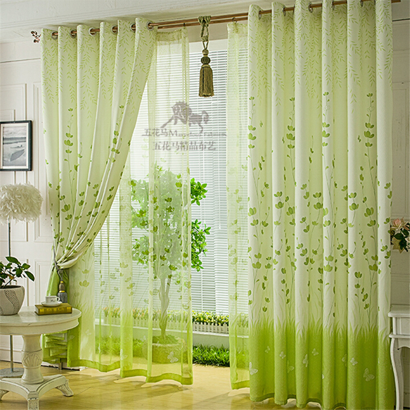 Buy Free Shipping Customize Green Window Curtain Fabric Cloth Cheap Curtain