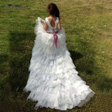 2016 Newest Pretty Flower Girls Dresses Ruched Tiered Girl Dresses For Wedding Party Gowns Plus Size Pageant Dresses Long Train(China (Mainland))