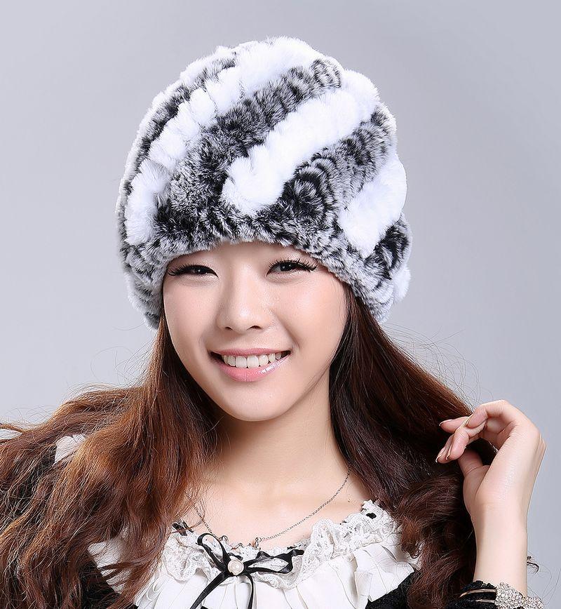 Luxury Autumn Winter Women's Genuine Real Knitted Rex Rabbit Fur Hats Handmade Lady Warm Caps Female Beanies Headgear VF0202(China (Mainland))