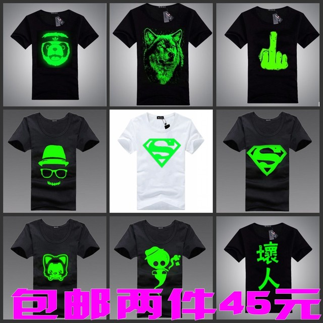 Super man 2013 personalized short-sleeve T-shirt luminous short-sleeve t-shirt fashion design summer lovers