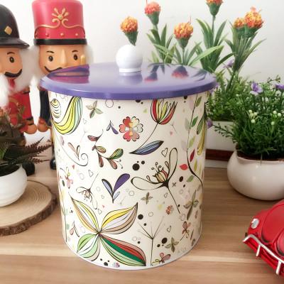 Free shipping Flower pattern Tin box biscuit tea coffee storage box storage jars with purple cover(China (Mainland))