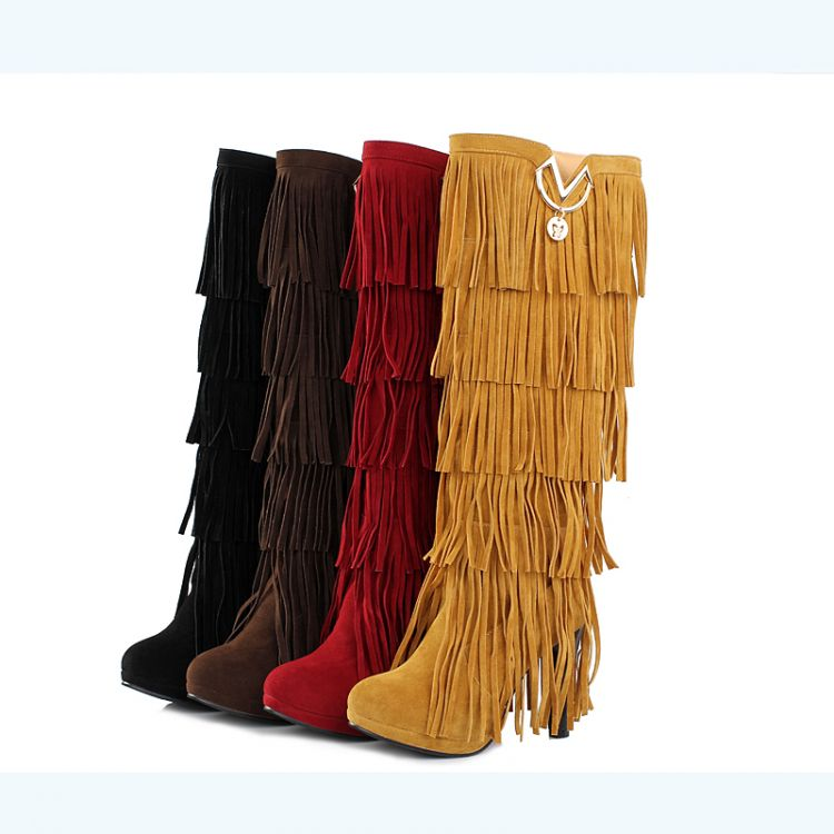 Free Shipping women boots with thick scrub  fringed boots European and American custom size 32-43HR-00151<br><br>Aliexpress
