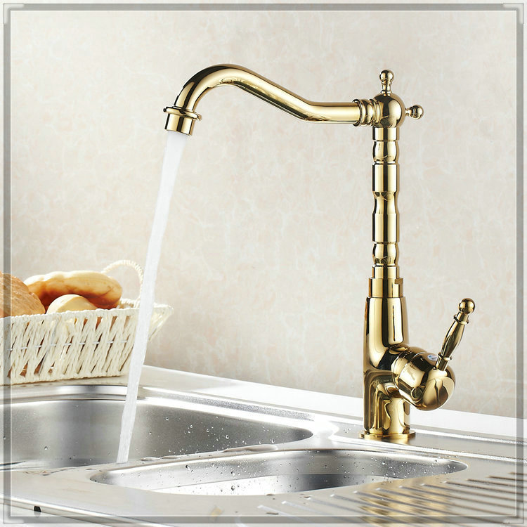 360 Rotating Gold Polished Kitchen Faucets Hot Cold Mixer Tap Brass Basin Faucet bathroom faucets price<br><br>Aliexpress