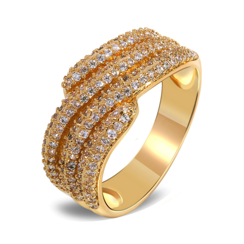 Mansaku 18K Real Gold Plated Women Finger Rings New Woven Look Luxury AAA Quality Cubic Zirconia Engagement Ring Brass Made(China (Mainland))