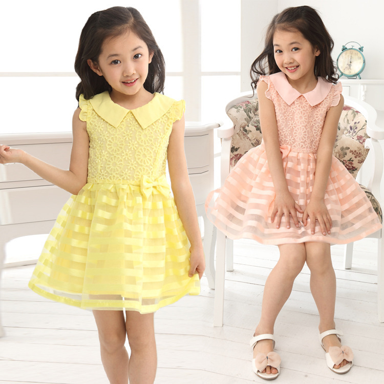 Retail Free Shipping new 2014 Summer vest dress, beach dress kids Lovely candy color Bow floral dress Baby Girl Dresses 3-11T<br><br>Aliexpress