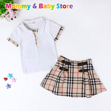 On Sales Baby Girl Clothes Set British Fashion Plaid Cloths Set For 2- 7 years old Kids Children Cloths set