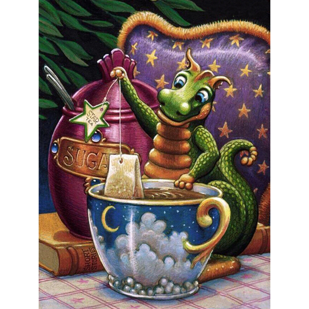 HWH-140 Western Style home decor 5D square Diy Diamond Painting Embroidery gift dragon tea living room sticker 30X40CM