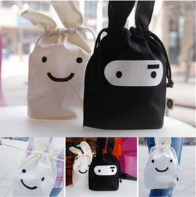Wholesale Brand New Lovely Mini Rabbit Cosmetic Case Canvas Black/white Cosmetic Bags Casual String Women Messenger Bags(China (Mainland))