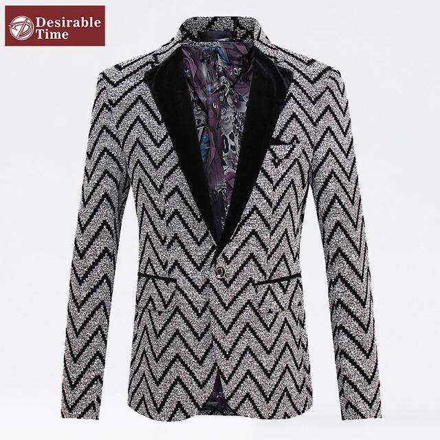 2016 новинка мужчины полосатый пиджак тонкой Большой размер M-5XL свадьба деловой ...
