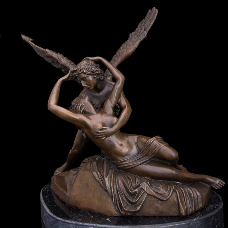 Hot Selling Greek mythology Cupid and Psyche Bronze statues love kiss famous sculptures romantic wedding decor CZ-007(China (Mainland))