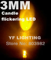 3mm candle flickering LED Yellow round dip led automatic flashing candle bulb 3.2-3.4V(CE&Rosh)