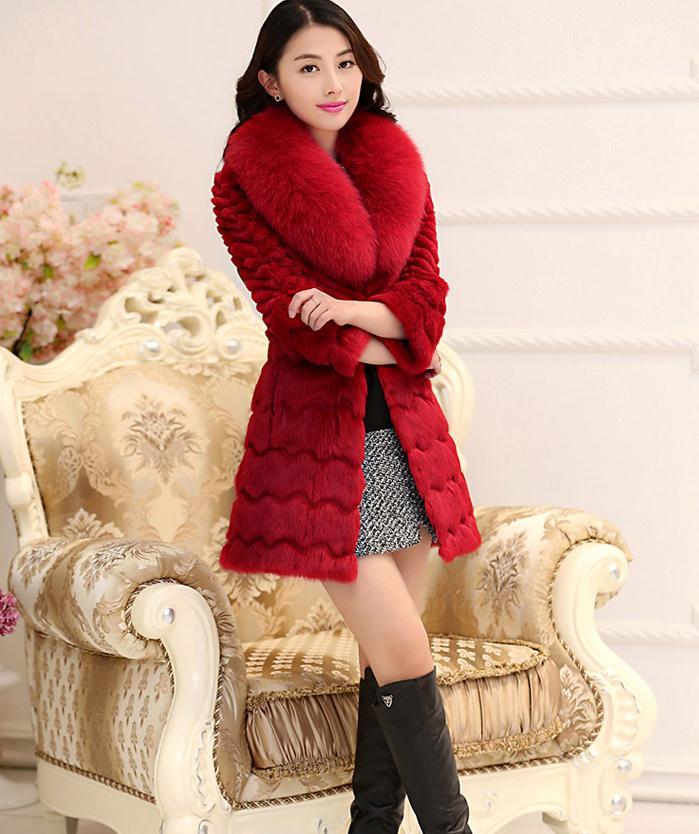 Woman winter plus size Solid Full Pelt Medium rabbit fur Slim coat lady turn-down for fur collar warm real fur outerwear D15(China (Mainland))