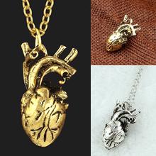 Men Retro 3D Anatomical Human Hollow Heart Pendant Necklace Punk Sweater Chain(China (Mainland))