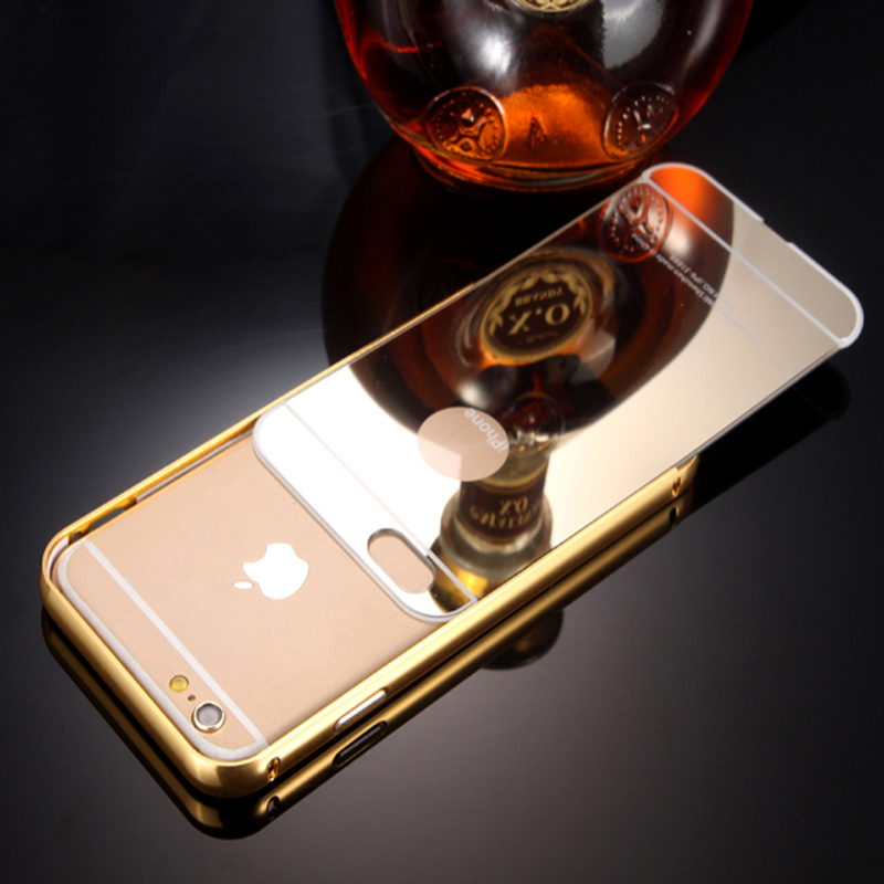 Ultra Slim 2 in 1 For iPhone 6 6S 4.7Inch Phone Cases Luxury Metal Aluminum Frame+Acrylic Mirror Mobile Phone Case Back Cover(China (Mainland))