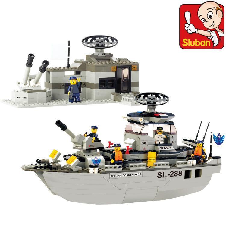 Здесь можно купить  Sluban M38-B0122 navy frigate Enlighten Building Block Set 3D Construction Brick Toys Educational Block toy for Children  Игрушки и Хобби