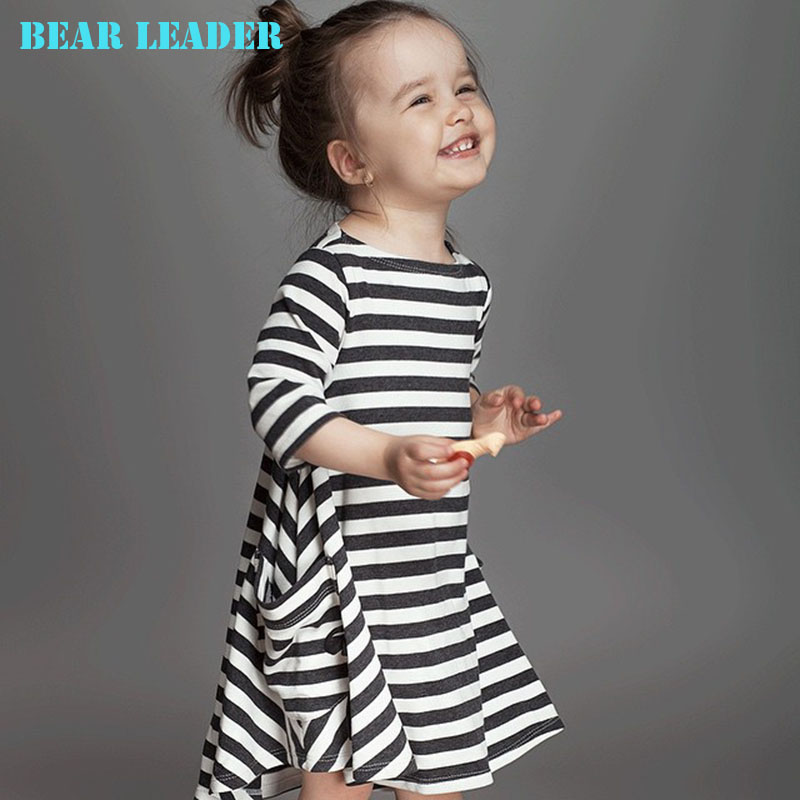 Bear Leader Girls dresses 2015 New spring&autumn casual style Asymmetrical striped princess dress The party for children clothes(China (Mainland))