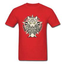 Sorcellerie chat décharge imprime Top T-shirts 2018 automne nouveaux hauts chemise société t-shirt 100% coton homme Top T-shirts en gros(China)