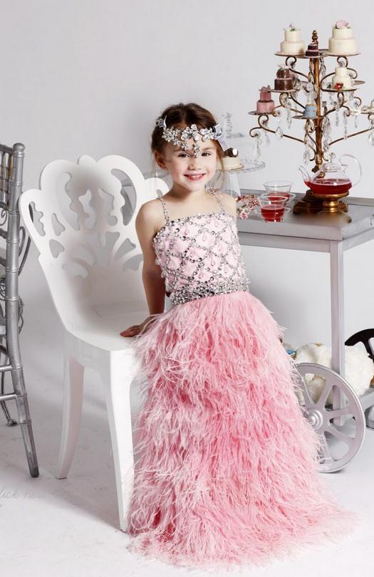 superbe rose petites filles robes de f te d 39 anniversaire plumes cristal filles pageant robes. Black Bedroom Furniture Sets. Home Design Ideas
