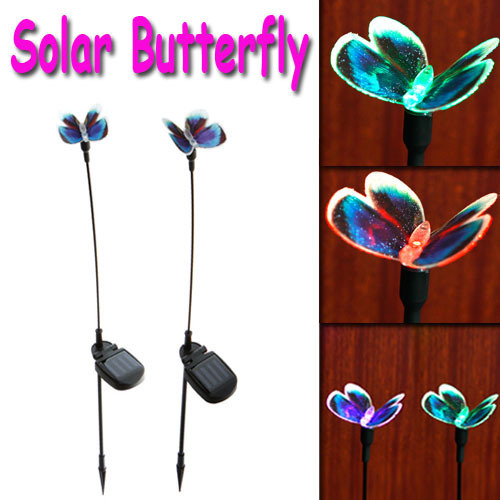 2 X Solar Powered Butterfly Color Changing Outdoor Garden Stake Light Set ,Freeshipping Wholesale(China (Mainland))