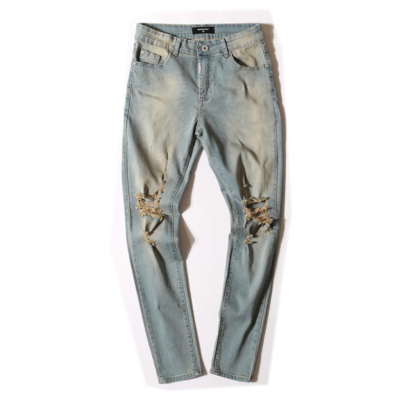 Pencail pants Mens Ripped Biker Jeans 100% Cotton Black Slim Fit Motorcycle Jeans Men Vintage Distressed Denim Jeans Pants(China (Mainland))