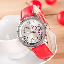 Cute Children s Watch Cartoon hellokitty PU Leather Wristwatch hour clock Quartz Wrist Watch for Girl