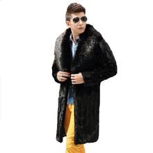 Best selling!Winter men faux fur coat Black fashion warm splice mink coat Soft and comfortable Fox fur collar long faux fur coat(China (Mainland))