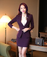 Plus Size 4XL 2015 Autumn Winter Slim Fashion Professional Business Suits With Skirt And Blazer Beautician Uniforms Clothing Set