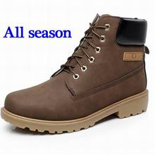 Super Warm Men's Winter Leather Boot Men Outdoor Waterproof Rubber Snow boots Leisure Martin Boots England Retro shoes for mens(China (Mainland))