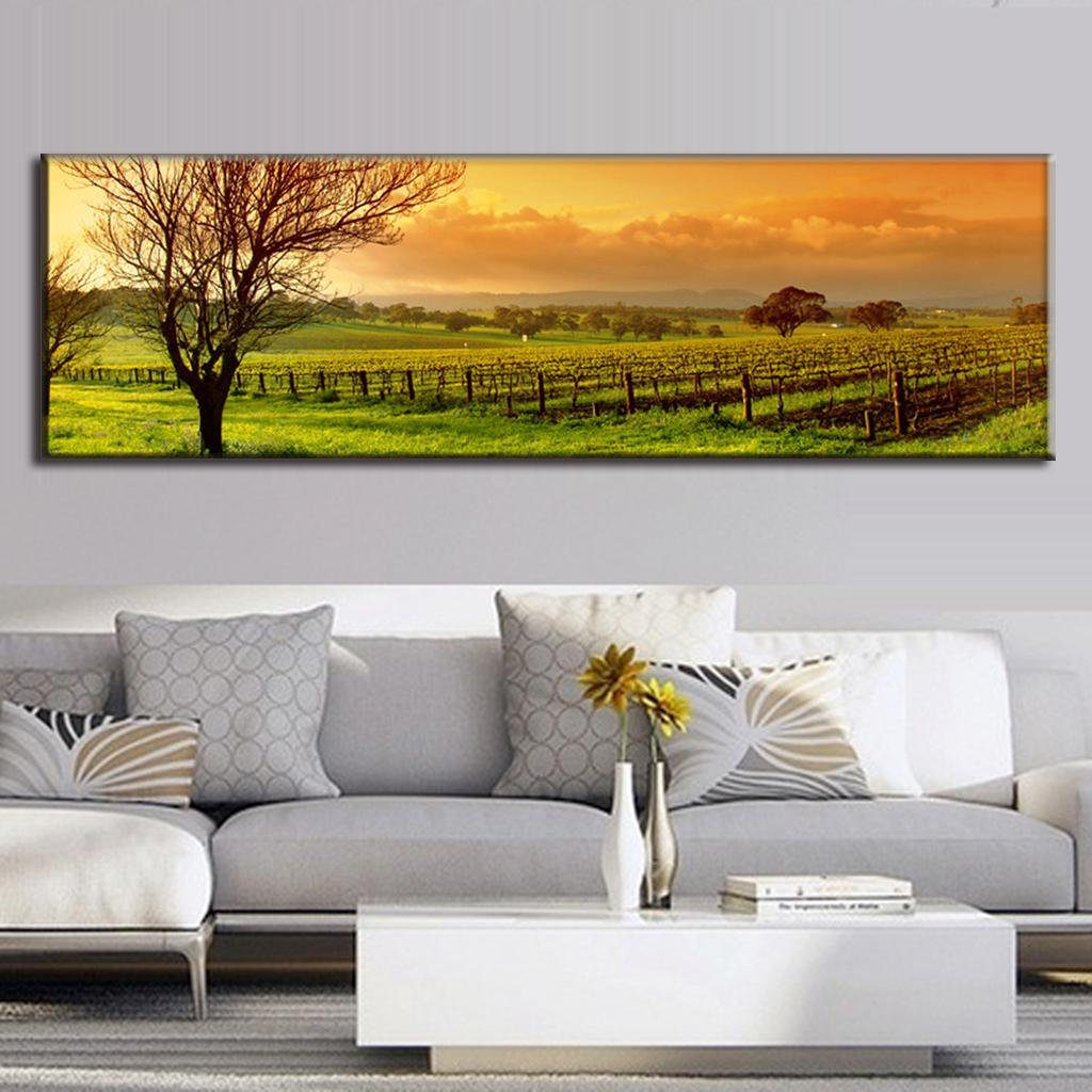 Super large single picture landscape vineyard canvas printed painting home decor the green field - Home decor stores orlando paint ...