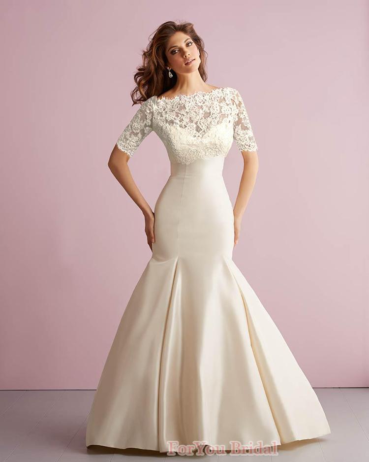 Vestido casamento бесплатная доставка половина рукава с курткой атласная аппликации-line русалка свадебное платье 2015 vestido noiva винтаж