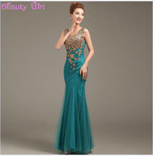 2016 New Design Prom Dresses Gold Appliques Dresses See-Through Back Mermaid Party Dress vestidos de festa(China (Mainland))