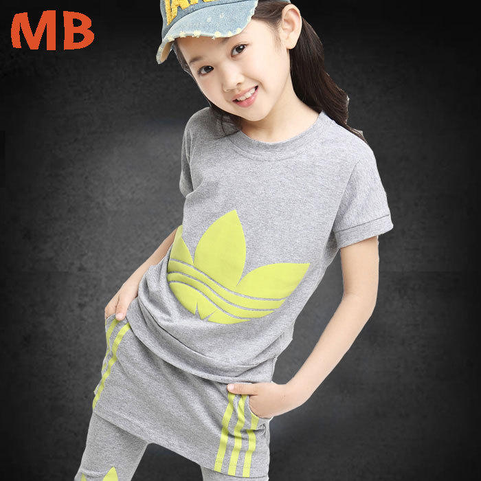 Free shipping children s summer new short sleeved suit girls cotton T shirt campaign clothing sets