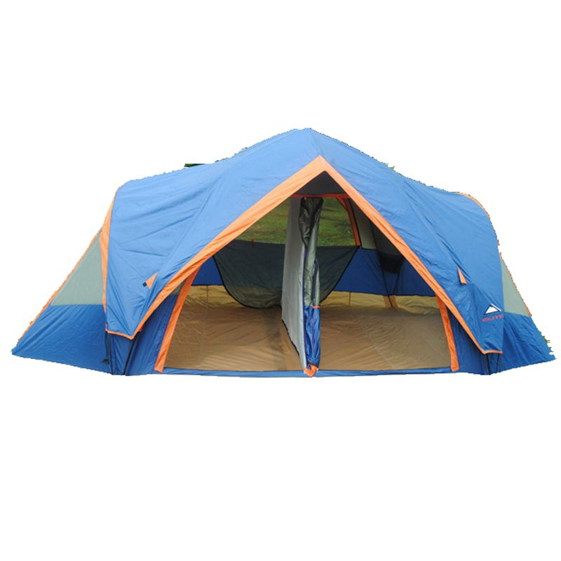 Camping Tent 5-8 Person Double Layers Tent Waterproof Tent Family Large Tent Two Bedrooms One Room Four Doors Quick Opening(China (Mainland))