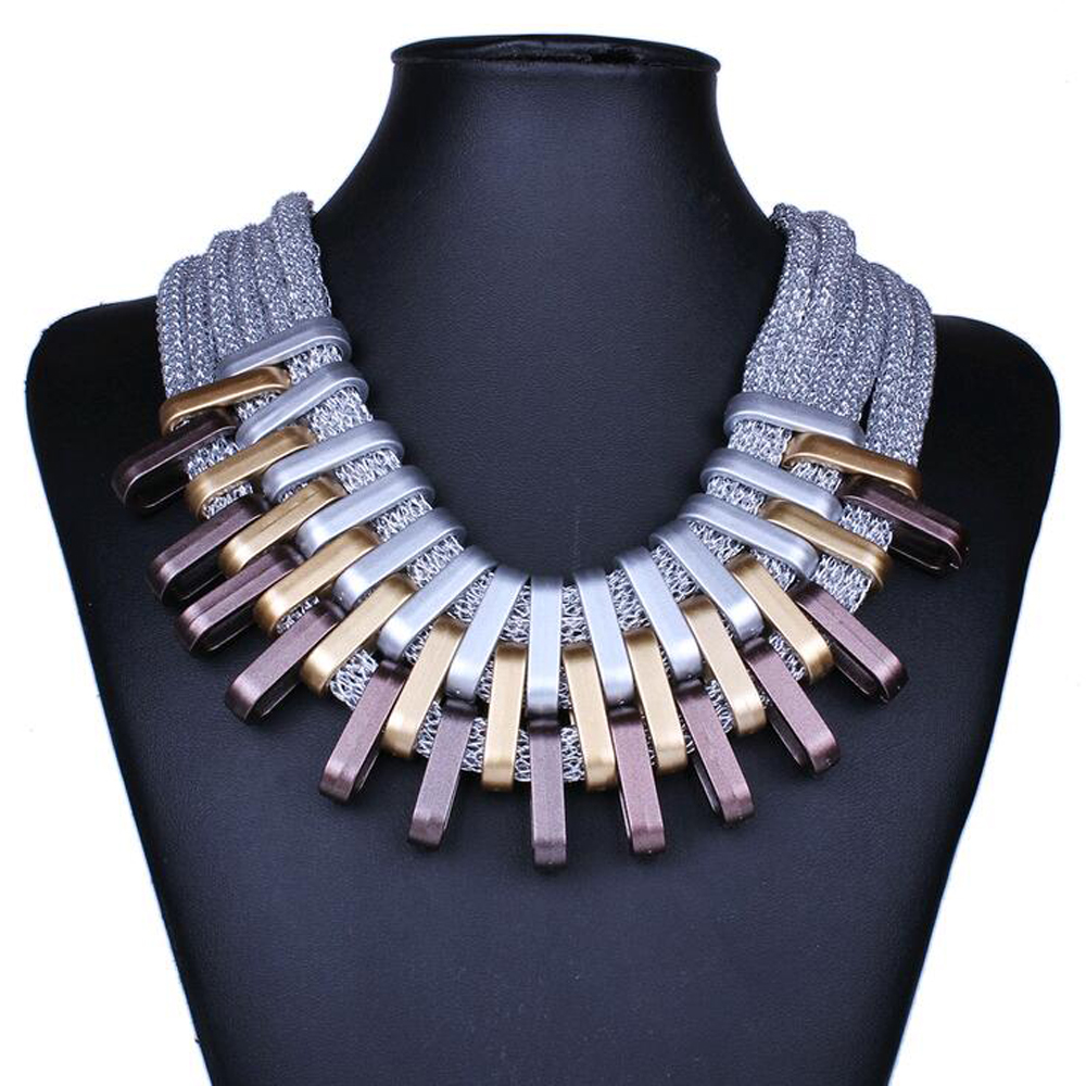 Brand Luxury Charming Chunky Chain Cheap Vintage Gold Silver Plated Statement Choker Necklaces Bijoux Jewelry For Women(China (Mainland))