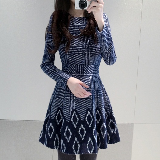 Vestido Women Dress Rushed Natural Long Dress Plus Size 2015 New Fashion Large Printing Base Temperament Slim Cut Sleeved 1001(China (Mainland))