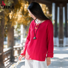 VICER Women Vintage Cotton Linen T-shirt Autumn Ladies Long Sleeve Double Layers Casual Loose Solid Shirts Tops Original Design