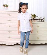 2016 Brand Fashion Summer Girls Cotton Turn-down Collar  Short-Sleeve White Puff Sleeve Lovely Decoration Girls Blouses