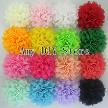 Free Shipping!80pcs/lot 4.5 Inch Alternative Chiffon Hair Flowers WITHOUT Clips For Shoes Clothing Hair DIY Garment Accessories(China (Mainland))