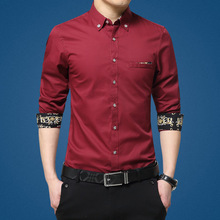 Luxury Brand Mens Dress Shirt French Cuff Slim Fit Business Shirts Men Long Sleeve 100% Cotton Casual Red Shirt Plus Size M-5XL