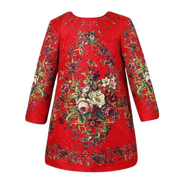 Babi girls dress children christmas dresses key print floral pattern