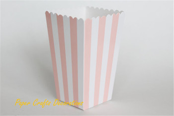 Set of 12 (12pcs/lot) Pink Striped Popcorn Boxes Bags Kids Party Treat Boxes Wedding Birthday Decorations Free Shipping
