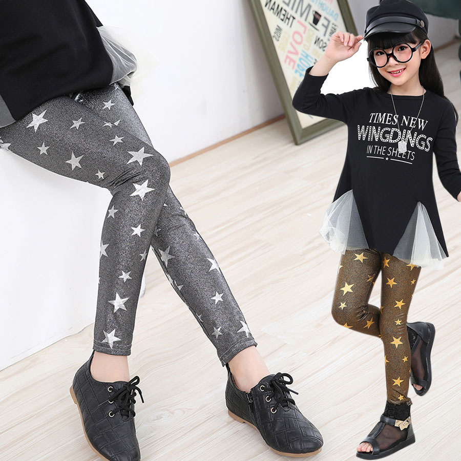 Grils Leggings Pencil Pants Slim Children Leggings Baby Kids Ankle Length Skinny Pants Leggings Star Print Girl Trousers 4-13Y(China (Mainland))