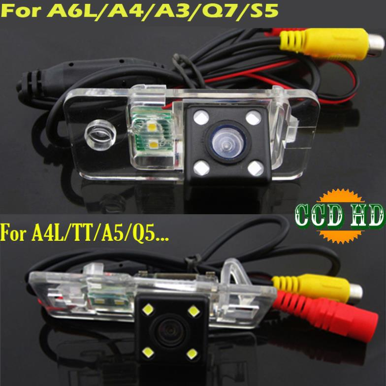ccd HD 4 LEDS Car rear view parking Camera for Audi A8 A6 A4 A3 Q7 S5 S6 S8 RS4 RS6 A4L/Q5/A5/TT/TTS backup wire wireless(China (Mainland))