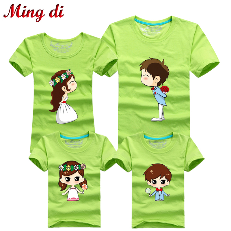 Ming Di 2016 Father & Mother & Kids Wedding Picture Outfits Family Clothing Family Look Fashion T-Shirts Family Matching Clothes(China (Mainland))