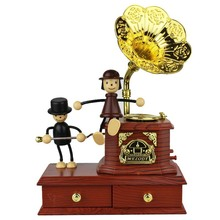 Best birthday gift home decoration lovely doll toys Gramophone music box for girl and kids