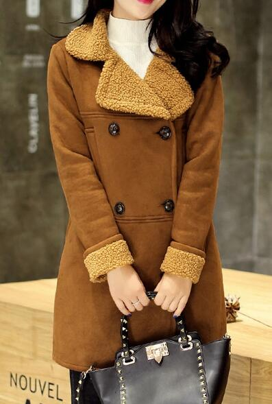 Season Discount Premium Women's Suede Leather Shearling Jacket Coat Lamb Wool Double Breasted Warm M-XXL Free Shipping(China (Mainland))