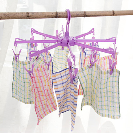 Round Folding Clothes Hanger Hanging Clothes Drying Underwear Socks 16 Clips Windproof Plastic Clothes Hanger(China (Mainland))
